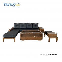 Bộ Sofa góc chân hươu -gỗ tần bì màu óc chó1