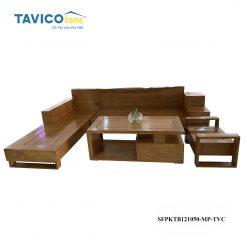 Bộ sofa 3 ngăn kéo vát - gỗ tần bì màu óc chó 1
