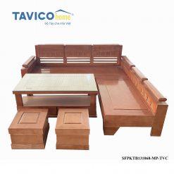 Bộ sofa góc tựa thường mặt liền -tần bì màu xoan đào