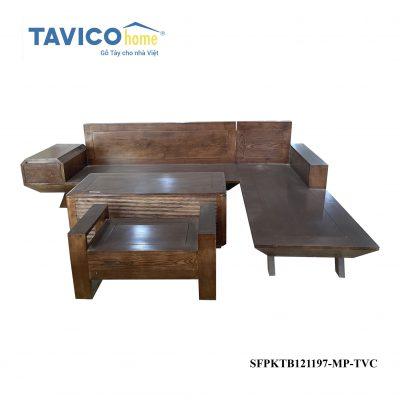 Bộ sofa bàn sọc - gỗ tần bì màu óc chó